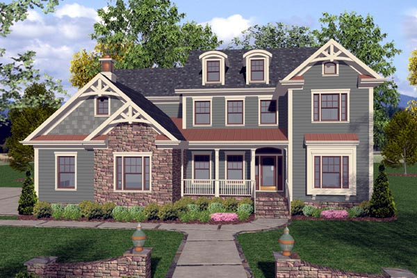 Craftsman, Traditional House Plan 92389 with 4 Beds, 4 Baths, 3 Car Garage Picture 1