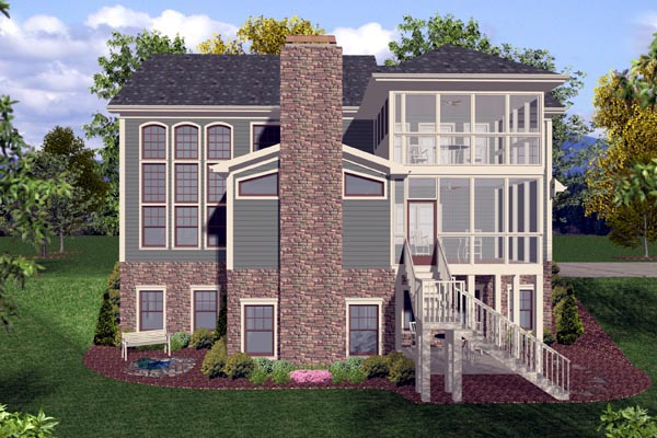 Craftsman Traditional Rear Elevation of Plan 92389