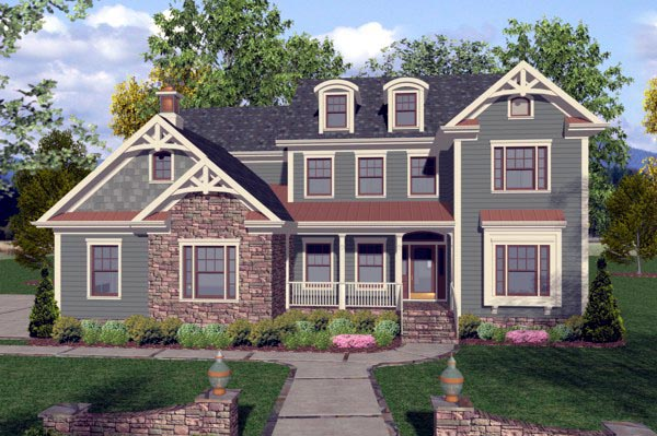Craftsman, Traditional House Plan 92390 with 4 Beds , 4 Baths , 3 Car Garage Elevation