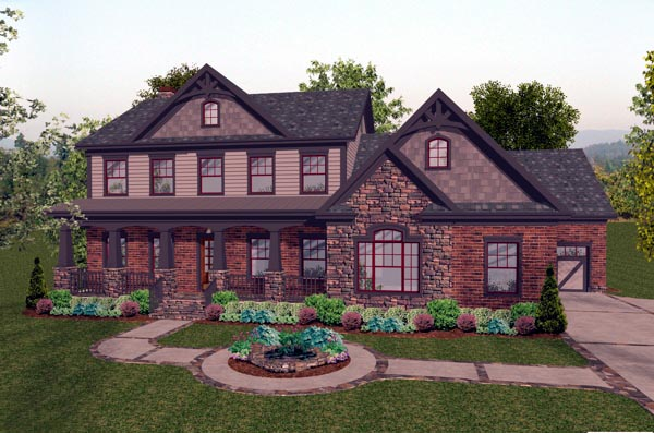 House Plan 92391 | Craftsman Style Plan with 2697 Sq Ft, 4 Bedrooms, 5 Bathrooms, 3 Car Garage Elevation