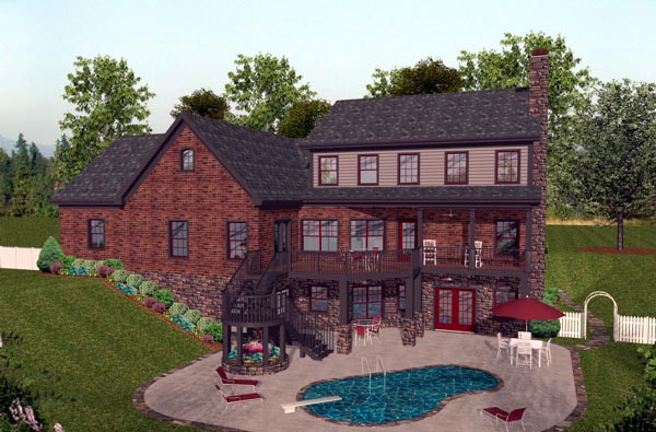 House Plan 92391 | Craftsman Style Plan with 2697 Sq Ft, 4 Bedrooms, 5 Bathrooms, 3 Car Garage Rear Elevation