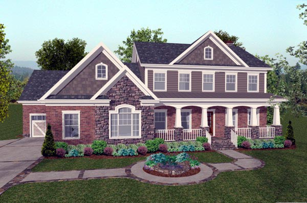 Traditional , Craftsman , Colonial House Plan 92392 with 4 Beds, 5 Baths, 3 Car Garage Elevation