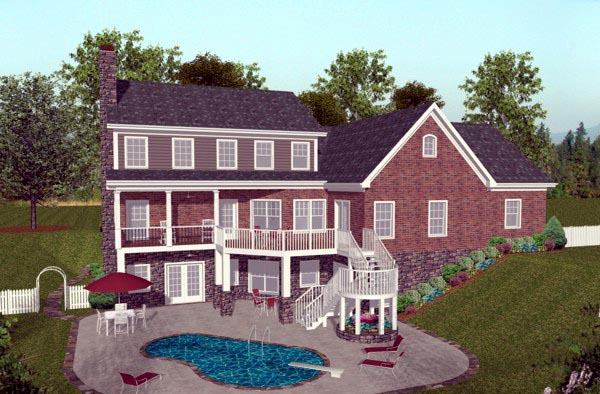 Traditional , Craftsman , Colonial House Plan 92392 with 4 Beds, 5 Baths, 3 Car Garage Rear Elevation