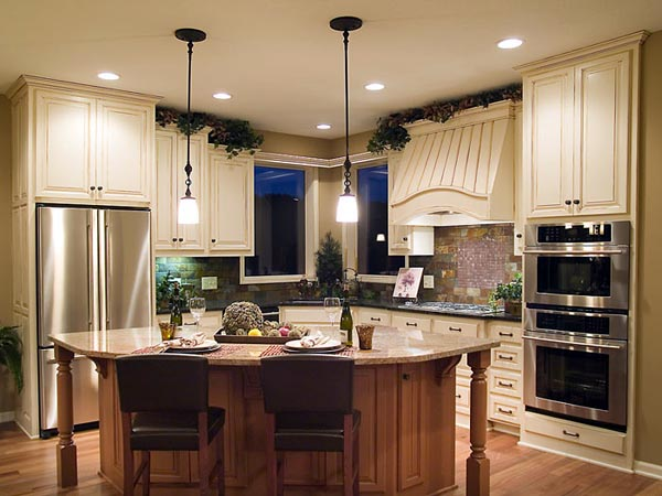 The kitchen is well-equipped for the serious cook with a large island and plenty of counter space.