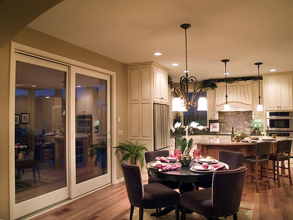 Open views into the breakfast area and kitchen from the great room.