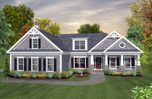 Country Craftsman Traditional House Plan 92396 Elevation