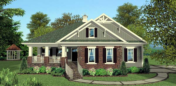 Cottage , Craftsman , Southern House Plan 92397 with 3 Beds, 4 Baths, 2 Car Garage Elevation
