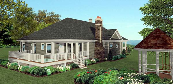 Cottage, Craftsman, Southern House Plan 92397 with 3 Beds, 4 Baths, 2 Car Garage Rear Elevation