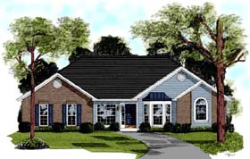 European House Plan 92401 with 3 Beds, 2 Baths Elevation