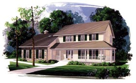 Colonial Country House Plan 92402 Elevation