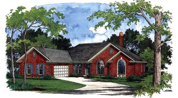 European Ranch House Plan 92404 Elevation