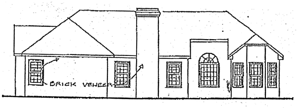 One-Story , Ranch , Rear Elevation of Plan 92405