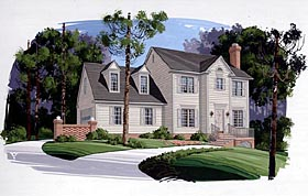 Colonial House Plan 92408 with 3 Beds, 3 Baths Elevation