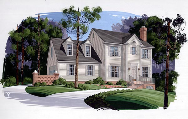 Colonial House Plan 92408 Elevation