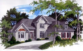 European House Plan 92415 with 4 Beds, 3 Baths Elevation