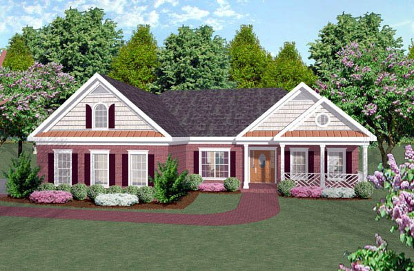Colonial Craftsman Ranch House Plan 92420 Elevation