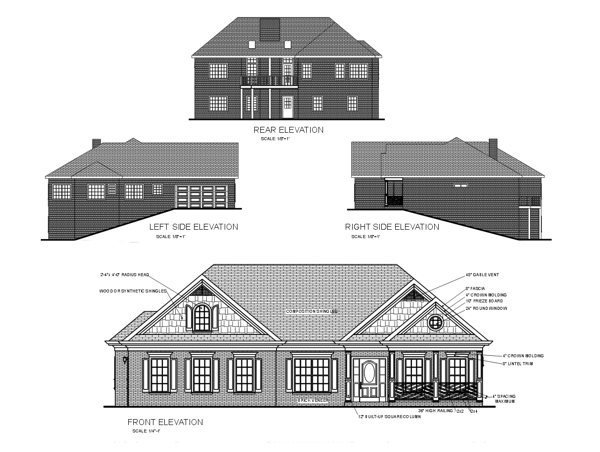 Colonial Craftsman Ranch House Plan 92420 Rear Elevation