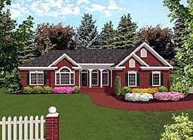 European Ranch Traditional House Plan 92421 Elevation