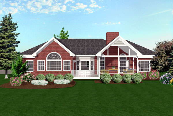 European, Ranch, Traditional House Plan 92421 with 3 Beds, 3 Baths, 3 Car Garage Rear Elevation