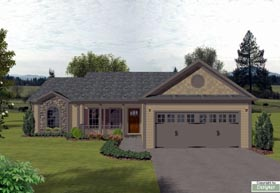 House Plan 92425 | Bungalow, Country Style House Plan with 1381 Sq Ft, 3 Bed, 2 Bath, 2 Car Garage Elevation