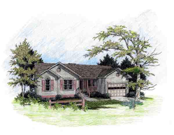 Ranch House Plan 92426 with 3 Beds, 2 Baths, 1 Car Garage Elevation