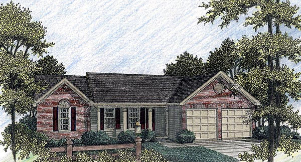 One-Story, Ranch House Plan 92430 with 3 Beds, 2 Baths, 2 Car Garage Elevation