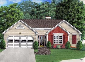 House Plan 92431 | Ranch Style House Plan with 1296 Sq Ft, 3 Bed, 2 Bath, 2 Car Garage Elevation