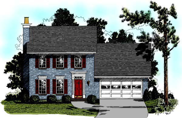 Colonial House Plan 92432 with 3 Beds, 3 Baths, 2 Car Garage Elevation