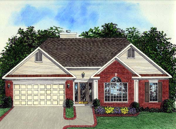 European, Ranch House Plan 92433 with 3 Beds, 2 Baths, 2 Car Garage Elevation
