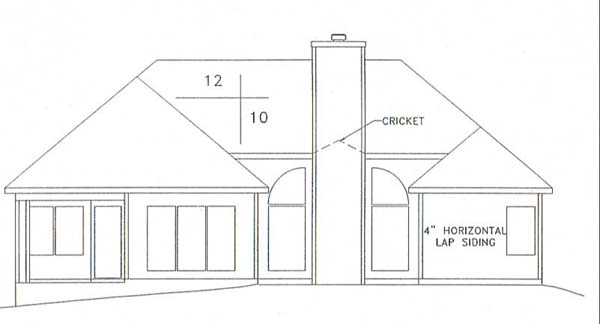 European, Ranch House Plan 92433 with 3 Beds, 2 Baths, 2 Car Garage Rear Elevation