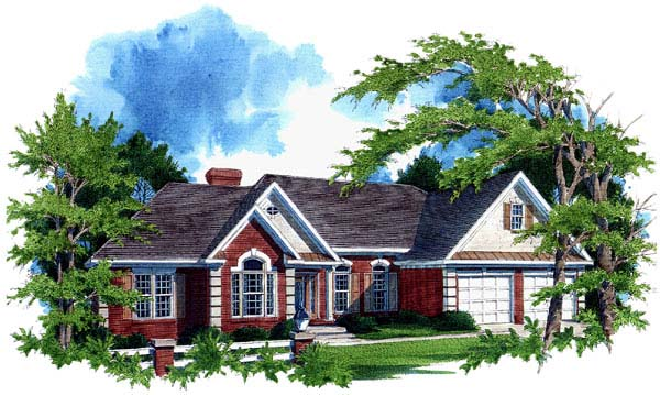 One-Story, Ranch House Plan 92435 with 3 Beds, 3 Baths, 2 Car Garage Elevation