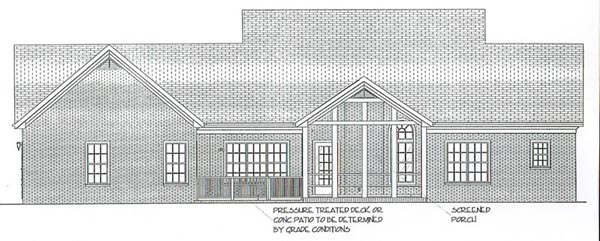 Colonial Country Rear Elevation of Plan 92443