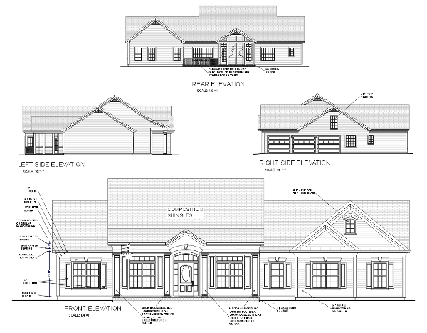House Plan 92444 | Country Style Plan with 2097 Sq Ft, 3 Bedrooms, 3 Bathrooms, 3 Car Garage Rear Elevation