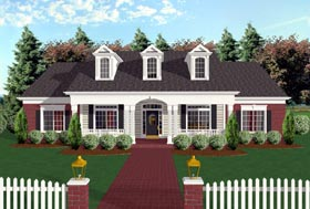 House Plan 92446 | Cape Cod Country Farmhouse Ranch Style Plan with 1992 Sq Ft, 3 Bedrooms, 3 Bathrooms, 2 Car Garage Elevation