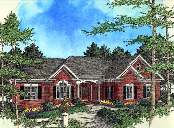European , Ranch House Plan 92449 with 3 Beds, 3 Baths, 2 Car Garage Elevation