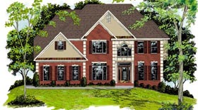 Colonial , European House Plan 92451 with 5 Beds, 4 Baths, 2 Car Garage Elevation