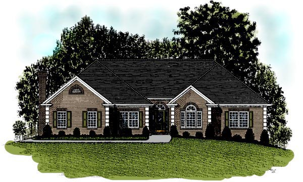 European House Plan 92453 with 4 Beds, 3 Baths, 2 Car Garage Elevation
