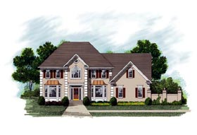 Colonial European House Plan 92455 Elevation