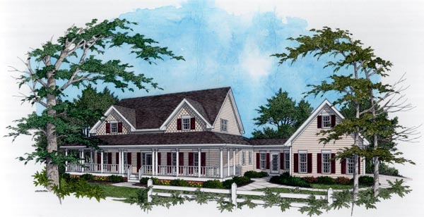 Country , Farmhouse House Plan 92457 with 4 Beds, 4 Baths, 3 Car Garage Elevation