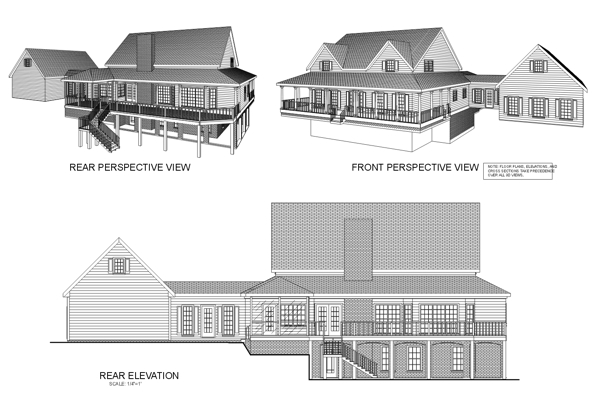 Country , Farmhouse House Plan 92457 with 4 Beds, 4 Baths, 3 Car Garage Rear Elevation