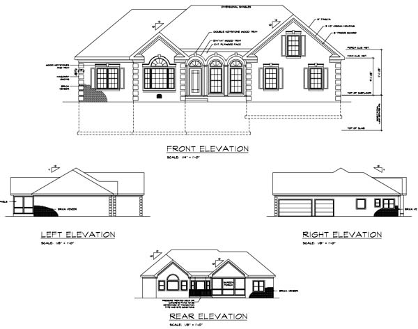 Ranch House Plan 92463 Rear Elevation