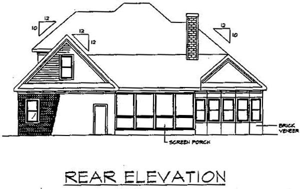 Bungalow European House Plan 92467 Rear Elevation