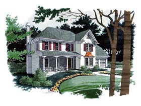 Colonial , Southern House Plan 92470 with 4 Beds, 3 Baths, 2 Car Garage Elevation