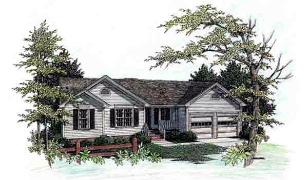 House Plan 92478 | Ranch Style Plan with 1069 Sq Ft, 3 Bed, 2 Bath, 2 Car Garage Elevation