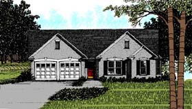 House Plan 92479 | Ranch Style House Plan with 1387 Sq Ft, 3 Bed, 2 Bath, 2 Car Garage Elevation