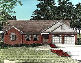 House Plan 92480 | Ranch Style Plan with 1338 Sq Ft, 3 Bed, 2 Bath, 2 Car Garage Elevation