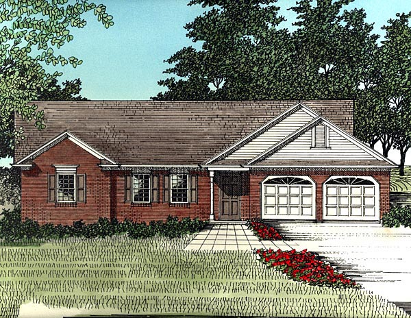 One-Story Ranch Elevation of Plan 92480