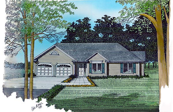 One-Story, Ranch House Plan 92483 with 3 Beds, 2 Baths, 2 Car Garage Elevation