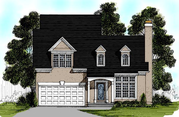 Cape Cod, European, Narrow Lot House Plan 92486 with 3 Beds, 3 Baths, 2 Car Garage Elevation