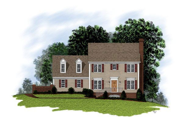 Cape Cod Colonial House Plan 92488 Elevation